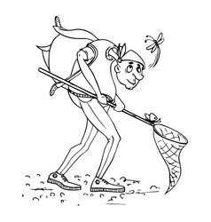 naturalist entomologist sketch vector image