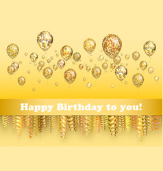 nice greeting background balloon with golden vector image