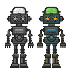 old flat style robot set on white background vector image