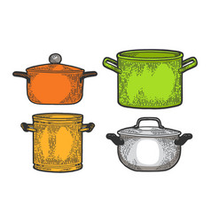 Pan casserole pot set sketch engraving vector