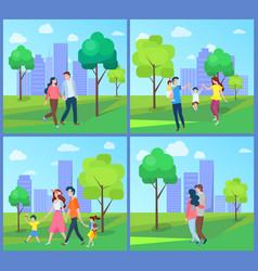 People walking in city park family outdoor vector