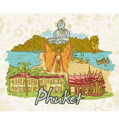 Phuket doodles vector