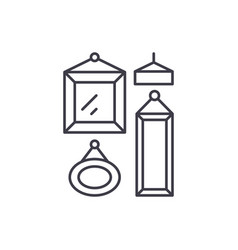 picture gallery line icon concept picture gallery vector image