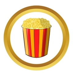 Popcorn in striped bucket icon vector