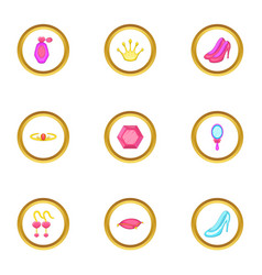 princess thing icons set cartoon style vector image vector image