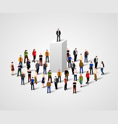 Real leader business man on pedestal in crowd vector