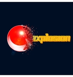 Red 3D ball exploded into pieces vector image