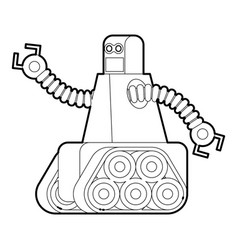 Robot with caterpillar track icon outline vector