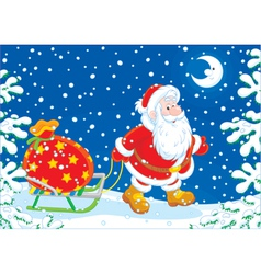 Santa with a gift bag vector
