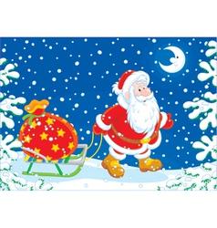 Santa with a gift bag vector