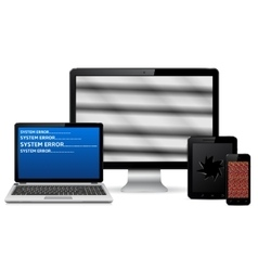 Set of faulty digital devices vector image