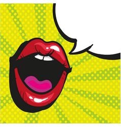 Sexy open female mouth screaming pop art style vector