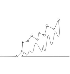 single one line drawing successful increasing vector image