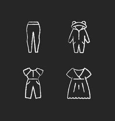 Sleepwear chalk white icons set on dark background vector