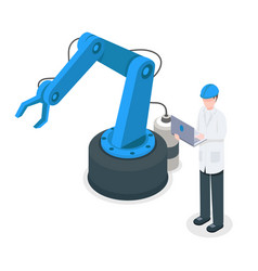 software programmer controlling robotic factory vector image