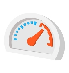 Speedometer orange blue cartoon icon vector