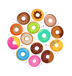 Sweet cartoon donuts in round form vector