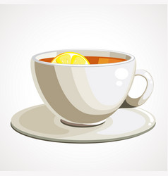 tea in white cup with lemon vector image