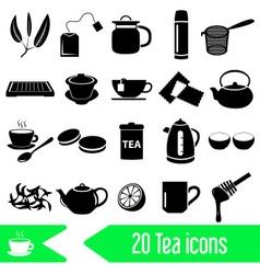 Tea theme black simple icons set eps10 vector