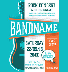 Template for rock concert poster vector