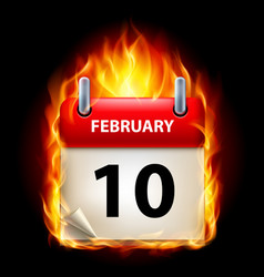 Tenth february in calendar burning icon on black vector