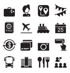 tourism tourist icons set vector image