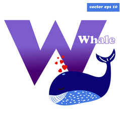 w whale letter vector image