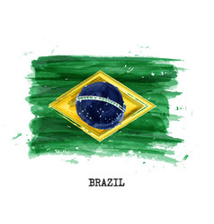 Watercolor painting flag of brazil vector