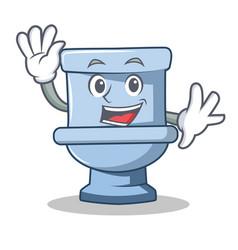 waving toilet character cartoon style vector image