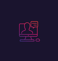 webinar line icon with gradient vector image