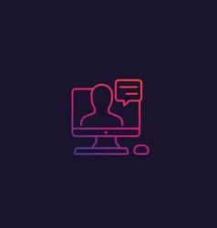 Webinar line icon with gradient vector