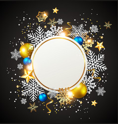 white snowflakes and golden decorations vector image