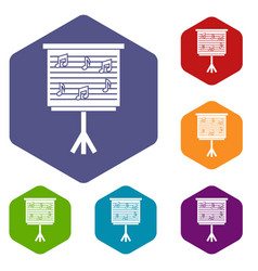 whiteboard with music notes icons set hexagon vector image