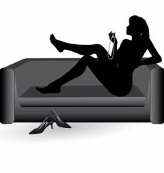 woman on the sofa vector image
