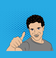 man shows super-style pop art vector image