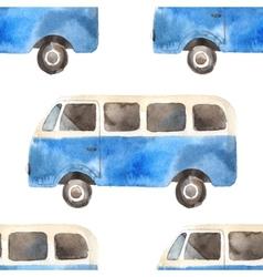 seamless pattern with retro travel van vector image