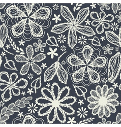 Seamless shabby floral hand-drawn curly pattern vector image