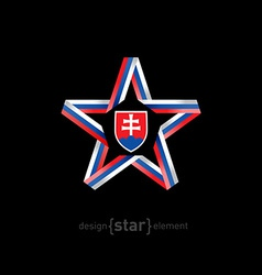 star with Slovakia flag colors and coat of arms on vector image vector image