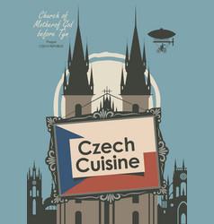 banner for a restaurant czech cuisine with flag vector image
