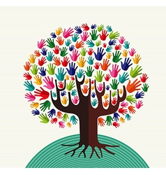 Colorful solidarity hands tree vector image