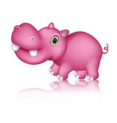 cute hippo cartoon walking vector image vector image