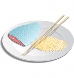 fish and rice vector image