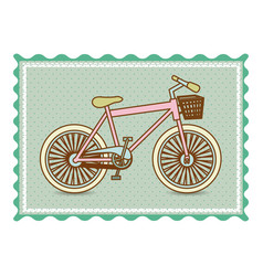 frame with silhouette of bicycle with background vector image