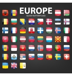 Glossy button flags - Europe Original colors vector image vector image