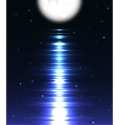 Moon reflection over water against black vector image