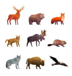 northern wild animals polygonal icons set vector image vector image