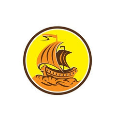 Sailing Galleon Ship Circle Retro vector image vector image