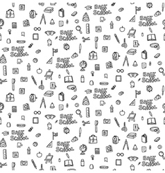 Back to school seamless pattern black and white vector image