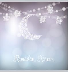 hand drawn ornamental moon and stars festive vector image vector image