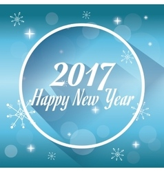 happy new year 2017 greeting card snowy lights vector image vector image